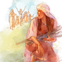 Jephthah's daughter gathering wood for the tabernacle; her friends have come to visit her