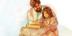 Jephthah spending time with his daughter when she was a little girl
