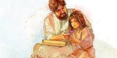 Иеффай проводит время с дочерью, когда она ещё маленькая