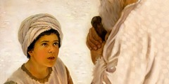 छोटा शमूएल महायाजक एली से बात कर रहा है