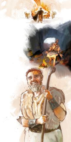 Jehova besvarer Elias bønn ved å sende ild fra himmelen; Elia i en hule; Elia er glad etter å ha blitt oppmuntret av Jehova