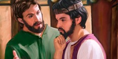 자기 친구 예레미야의 말을 듣고 있는 요시야 왕