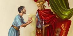 사령관에게 이야기하고 있는 바울의 조카