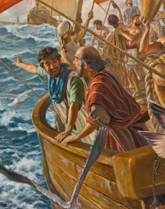 Timothy traveling with the apostle Paul on a boat