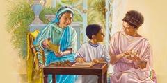 तीमुथियुस अपनी मम्मी यूनीके और नानी लोइस से सीख रहा है
