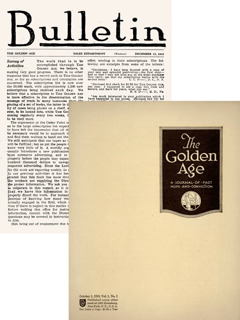 Portada dels primers números del Bulletin i The Golden Age