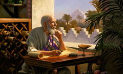 The prophet Daniel writing in ancient Babylon