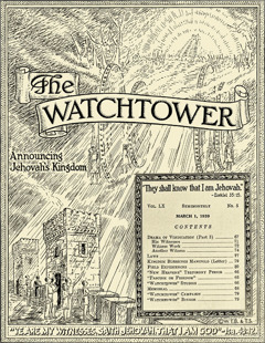 Cover of the magazine The Watchtower, March 1, 1939