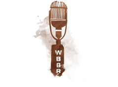 A WBBR broadcaster's microphone