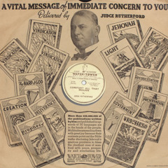 Cover of a phonograph record of a Bible discourse by J. F. Rutherford