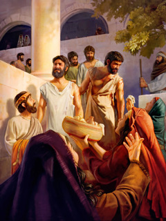 Christ's apostles happy as they leave the Sanhedrin after being flogged
