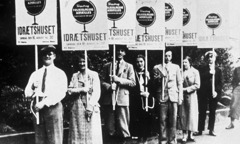 A line of Jehovah's Witnesses carrying placards in Denmark in the 1930's