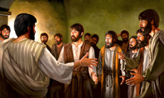After his resurrection, Jesus appears to his disciples in a room where they have gathered