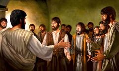 부활되신 예수께서 제자들이 모여 있는 방에 나타나시다