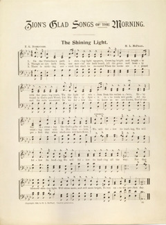 Nodeark med tekst til sangen The Shining Light fra Zion's Glad Songs of the Morning, 1896