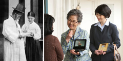 A colporteur sister preaching to a man in Korea in 1931; 2. Two Christian sisters preaching in sign language in Korea today