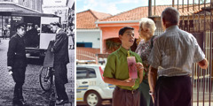 1. A Kingdom publisher being arrested for preaching in 1945; 2. A Christian sister keeps watch as a younger Christian brother preaches to a man