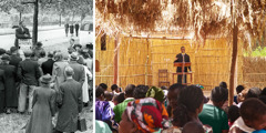 1. An outdoor meeting of Jehovah's Witnesses in London in 1945; 2. An outdoor convention of Jehovah's Witnesses in Malawi