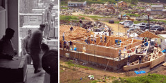 1. Unloading relief supplies in Germany, 1946; 2. Witnesses rebuilding a Kingdom Hall in Japan after the tsunami, 2011