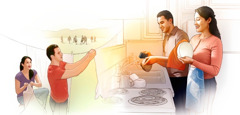 A married couple work as a team, doing laundry and washing dishes
