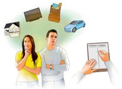 Ein Ehepaar denkt über seine Hauptausgaben nach