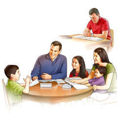 A father prepares to study with his family and they later enjoy family worship
