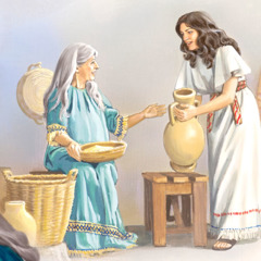 Mary assists Elizabeth with household chores