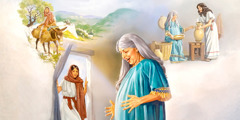 Mary rides a donkey; Elizabeth feels the child in her womb leap for joy when Mary enters her house; Mary assists Elizabeth with household chores
