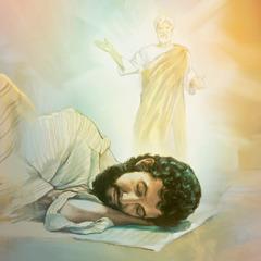 Een engel van Jehovah verschijnt aan Jozef in een droom