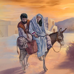 Mary sits on a donkey and Joseph puts baggage on it