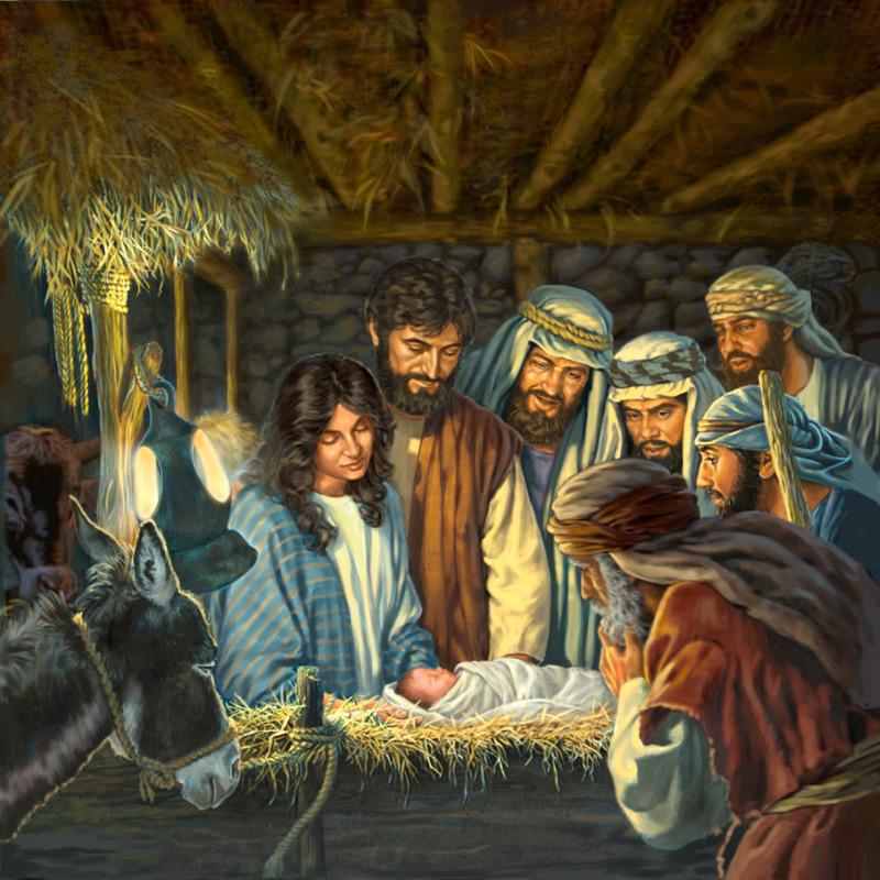 María, José y los pastores miran a Jesús recién nacido mientras duerme en el pesebre