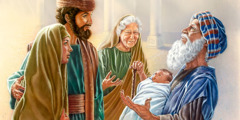 Simeon holds baby Jesus as Joseph, Mary, and the prophetess Anna look on
