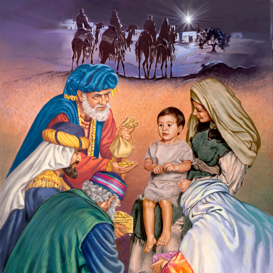 Astrologers Who Followed A Star To Bethlehem Giving Gifts Mary And Jesus