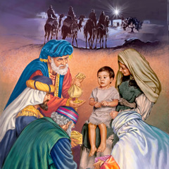Astrologers who followed a star to Bethlehem giving gifts to Mary and Jesus