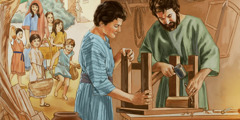 Joseph training Jesus as a carpenter