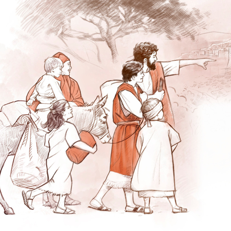 İsa ailəsi ilə birgə Yerusəlimə gedir