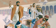 Jesus drives out the money changers from the temple