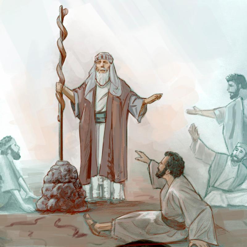 Israeliţii care au fost muşcaţi de şerpi veninoşi privesc la şarpele de aramă ca să fie salvaţi