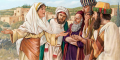 In Sychar, the Samaritan woman tells the people of the city the things that Jesus told her
