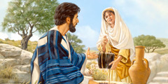 Jesus talks to a Samaritan woman at a well