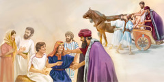 The official is met by his slaves and returns home to his son who was healed by Jesus