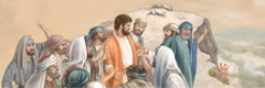会堂にいた男たちがイエスを山の崖っぷちに連れてきたところ