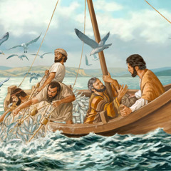 Andrew, James, and John struggle to get the nets into the boat; Peter falls down before Jesus