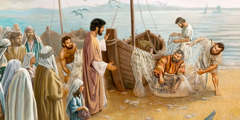 Jesus talks to Peter, Andrew, James, and John on the shore of the Sea of Galilee