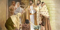 بیمارانی به خانهٔ پِطرُس آمدهاند و عیسی آنان را شفا میدهد