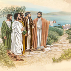 Jesus points to a nearby town as he talks with Peter, Andrew, James, and John