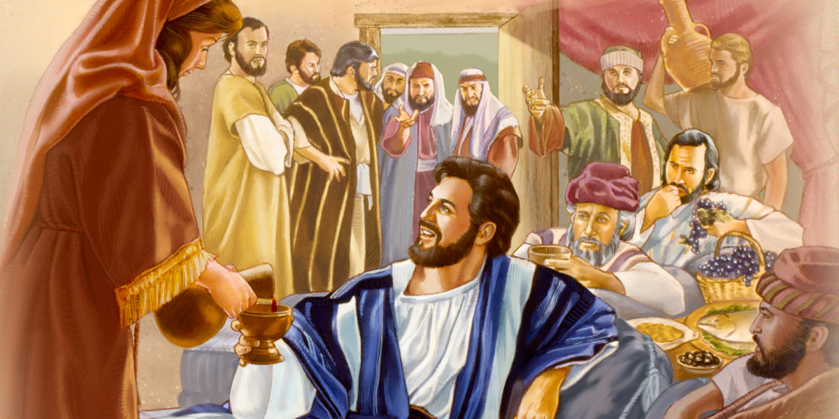 Pharisees look on as Jesus dines with tax collectors and sinners at Matthew's house