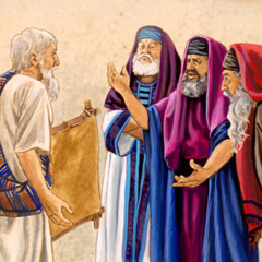 Jews talk to a man that was healed by Jesus