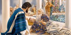 Hesus ta papia ku un hòmber enfermo na e tanki di awa di Bètzata