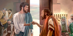 Jesus about to heal a man with a withered hand